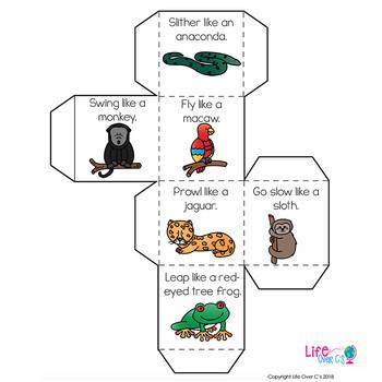 Brain Break Cube   Rainforest Animal Theme