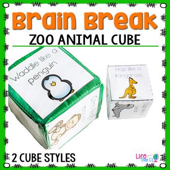 Brain Break Cube | Zoo Animal Theme