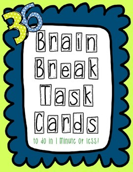 Brain Break Task Cards - blue scallops