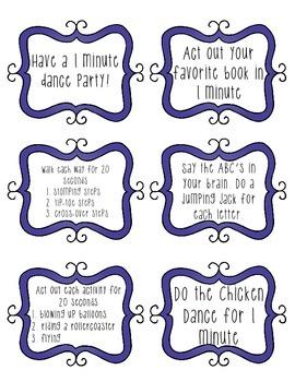 Brain Break Task Cards - blue swirls