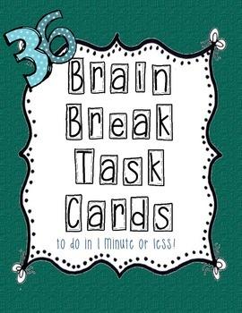 Brain Break Task Cards - green bows