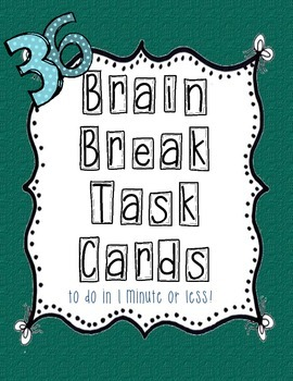 Brain Break Task Cards - green bows