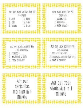 Brain Break Task Cards - yellow polka dots