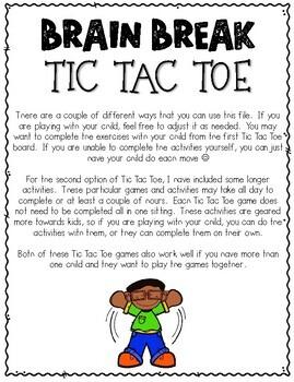 Brain Break Tic Tac Toe - Distance Learning