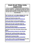 Brain Break Video Links