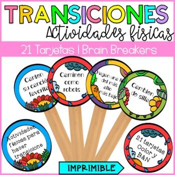 Brain Breakers in spanish/ Actividades físicas para hacer transiciones