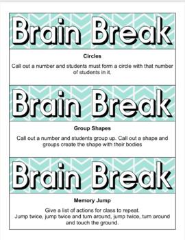Brain Breaks - 36 quick activities on cards