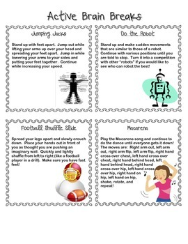 Brain Breaks : 40 Task Cards to Engage Learners with Movement
