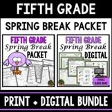 Fifth Grade Spring Break Homework Packet - Print & Digital - Distance Learning