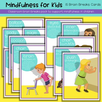Brain Breaks Activity Cards For Kids | mindfulness and growth mindset