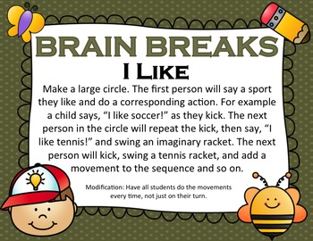 Daily Physical Activity: Brain Breaks - Large Group Games - Class games