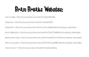 Brain Breaks [18 Classroom Cards]