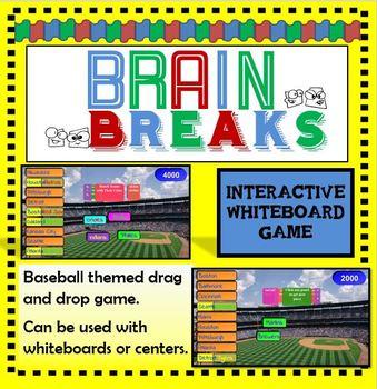 Free Brain Breaks SMART Board /  Interactive Whiteboard Game: Baseball Themed