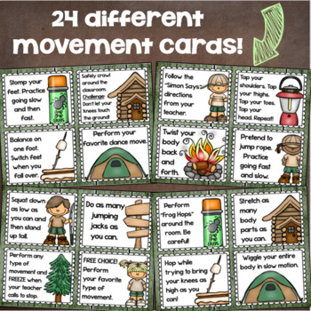 Brain Breaks Movement Cards Camping Camp Out Theme