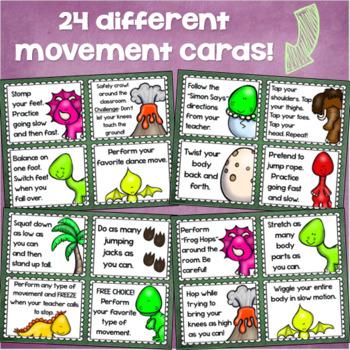 Brain Breaks Movement Cards Dinosaur Dino Theme