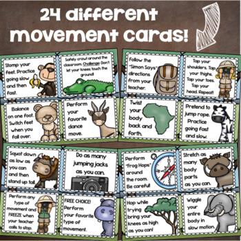 Brain Breaks Movement Cards Jungle Safari Theme