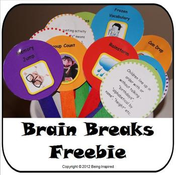 Brain Breaks - Printable games and activities for 5 minute classroom breaks