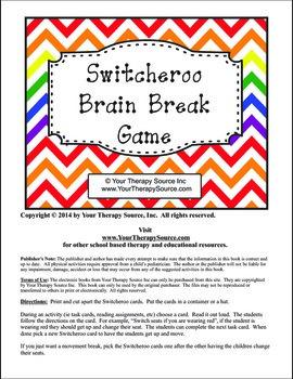 Brain Breaks Switcheroo for Task Cards