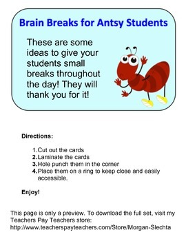 Brain Breaks for Antsy Students Preview