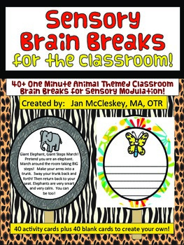 Brain Breaks for the Classroom - 1 minute Animal Themed Sensory Breaks!