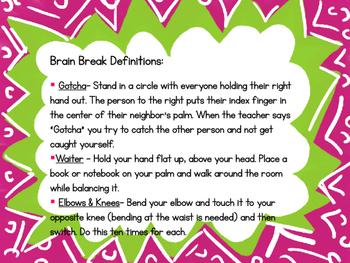 Brain Breaks with Descriptions