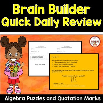Brain Builder - Basic Algebra Puzzles and Using Quotation Marks in Dialogue
