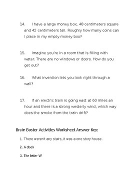 Brain Buster Activities Worksheet