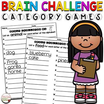 Brain Challenge Category Games - No Prep
