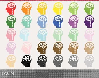 Brain Digital Clipart, Brain Graphics, Brain PNG, Rainbow