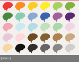 Brain Digital Clipart, Brain Graphics, Brain PNG, Rainbow
