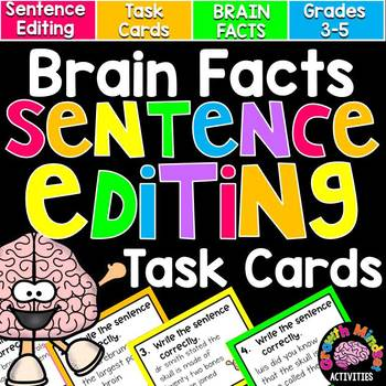 Brain Facts Sentence Editing Task Cards for Grades 3-5