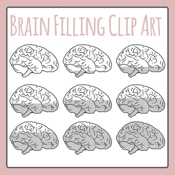 Brain Filling Greyscale Sequence / Progress Clip Art for Commercial Use