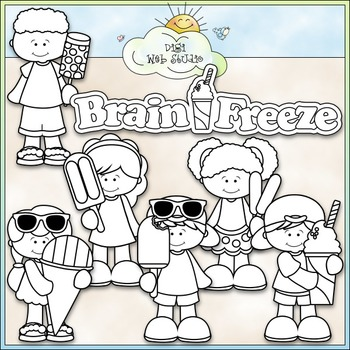 Brain Freeze Kids Clip Art - Snow Cone, Popsicle, Push Up -CU ClipArt & B&W
