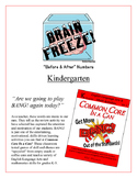 """Brain Freeze!"" Kindergarten Before & After Numbers Game Common Core"