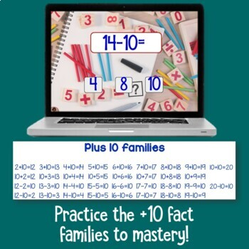 Brain Friendly Addition and Subtraction Level 2 +10 Fact Families BOOM Cards