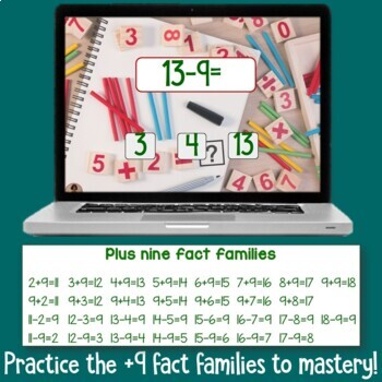 Brain Friendly Addition and Subtraction Level 3 +9 Fact Families BOOM Cards