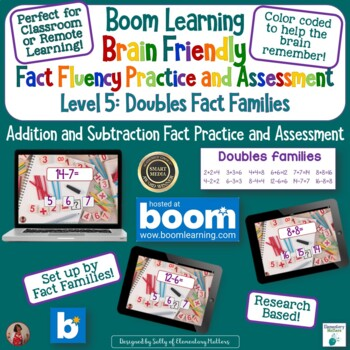 Brain Friendly Addition and Subtraction Level 5 Doubles Fact Families BOOM Cards
