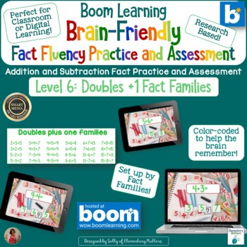 Brain Friendly Addition and Subtraction Level 6 Doubles +1 Families BOOM Cards
