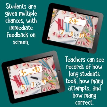 Brain Friendly Addition and Subtraction Level 4 Sums of Ten Families BOOM Cards