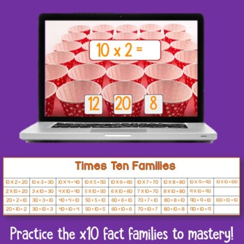 Brain Friendly Multliplication and Division Fact Fluency Level 2  X10 Families