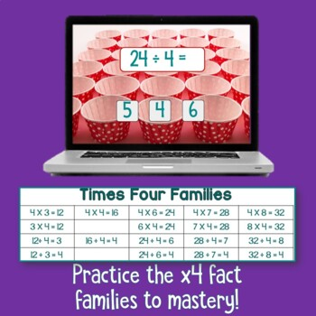 Brain Friendly Multliplication and Division Fact Fluency Level 6  X4 Families