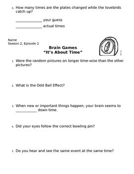Brain Games Season 2 Documentary Student Handout All Episodes