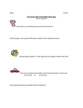 Brain Games Worksheet-Battle of the Ages