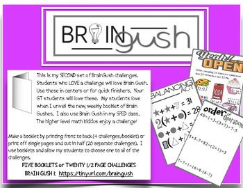Brain Gush 2 GT Math Challenges with KEY