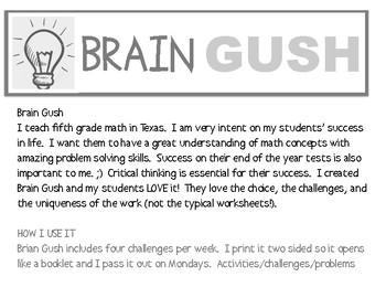 Brain Gush GT Math Challenges - Fifth Grade - SAMPLE