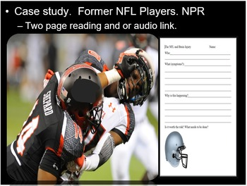 Brain Injury Lesson, NFL Player Interview, Reading, PowerPoint