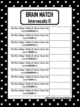 Brain Match: Vocalic R
