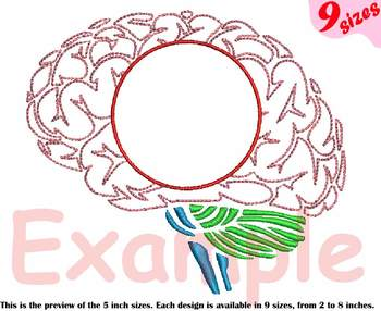 Brain Outline Embroidery Design cricle frame science School anatomy biology 215b