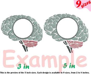 Brain Outline Embroidery Design cricle frame science anatomy biology Medic 214b