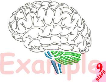 Brain Outline Embroidery Design science school anatomy biology Medic nurse 147b